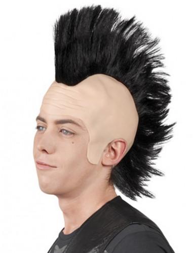 Parrucca punk nera con cresta