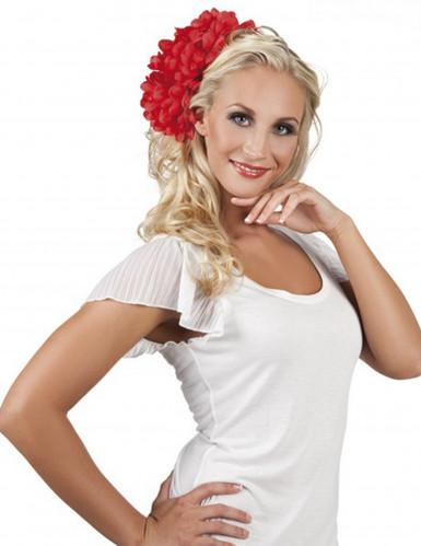 Cerchietto per capelli rosso con fiore