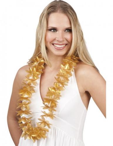 Collana di fiori dorata stile hawaiano