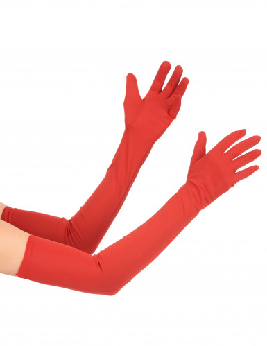Guanti lunghi color rosso
