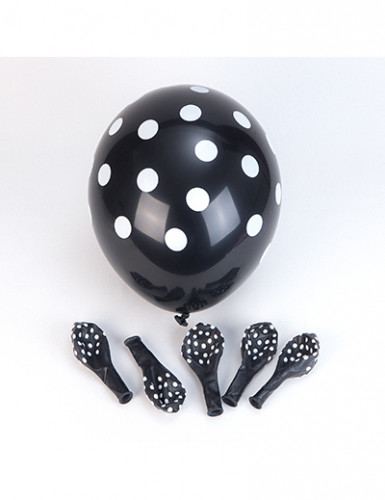 6 Palloncini a pois neri e bianchi