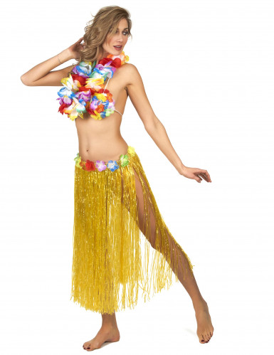 Gonna Hawaiana lunga color giallo per adulto-1