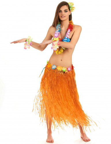 Gonna Hawaiana arancione lunga donna