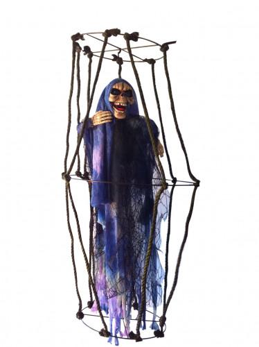 Decorazione scheletro luminosa sospesa con gabbia per Halloween