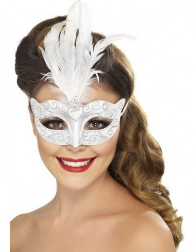 Mascherina veneziana bianco e argento