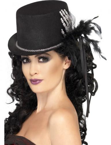 Cappello nero da donna scheletro e piume Halloween