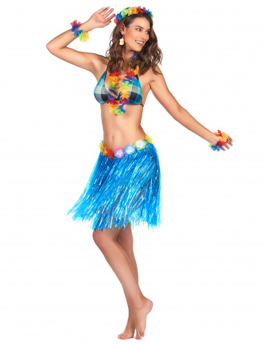 Gonna in stile hawaiano blue adulto