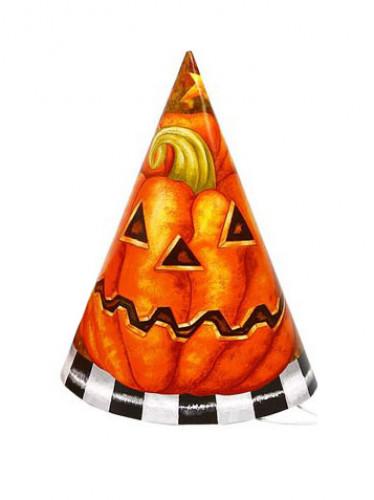 6 cappelli da zucca di cartone per Halloween
