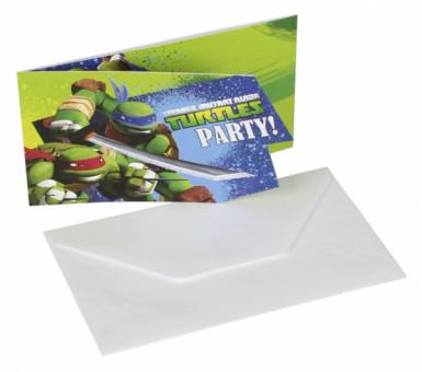 6 biglietti d'invito Tartarughe Ninja con buste