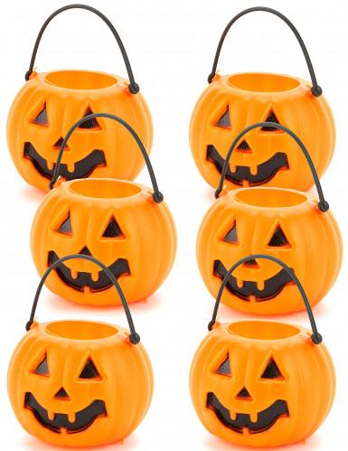 6 secchielli a forma di zucca di Halloween