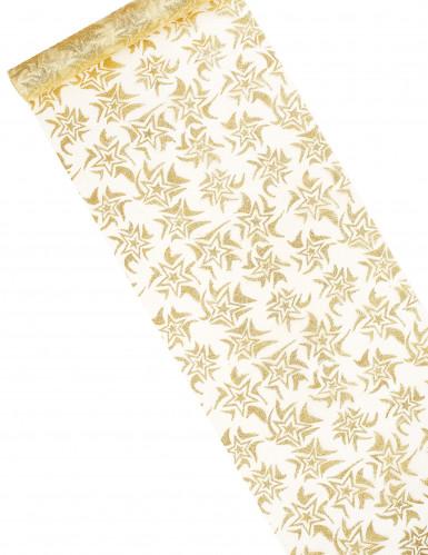 Runner da tavolo bianco e dorato decorato con stelle