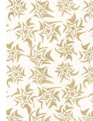 Runner da tavolo bianco e dorato decorato con stelle-1