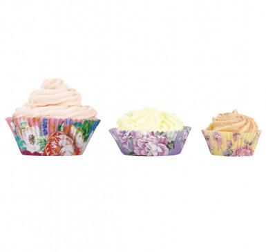 60 pirottini da cupcakes in 3 taglie floreali