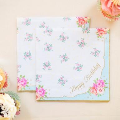20 Tovaglioli di carta Buon Compleanno romantici-1
