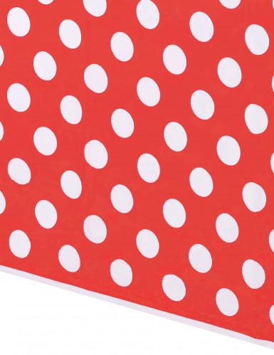 Tovaglia di plastica rossa con pois bianchi-1