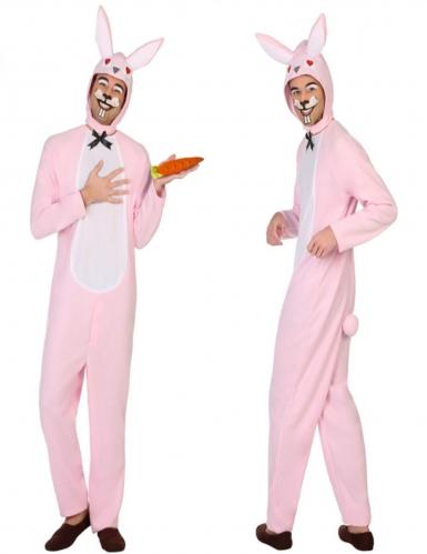 Costume da coniglio bianco e rosa da uomo