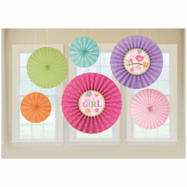 6 decorazioni a sospensione in carta colorata a tema Uccellini Rosa