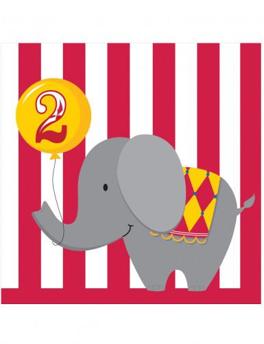 16 tovaglioli di carta a tema circo per bambini di 2 anni 33 x 33 centimetri