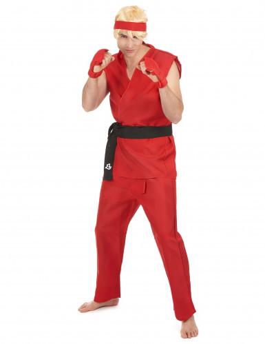 Costume rosso da guerriero di arti marziali per adulto
