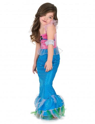Costume da sirena di colore rosa e azzurro per bambina-1