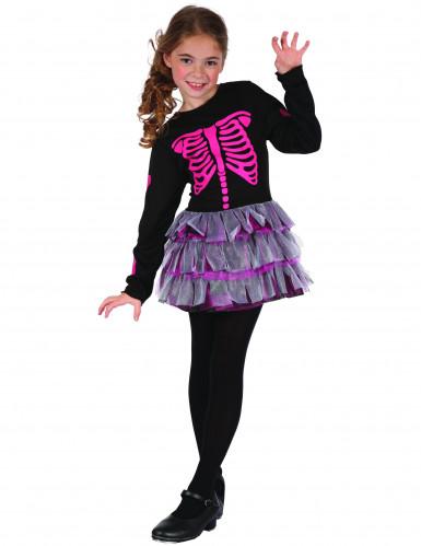 Costume scheletro rosa bambina