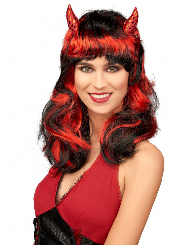 Parrucca diavolessa rossa e nera con corna