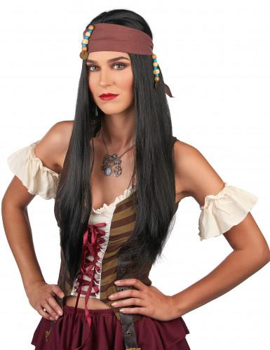 Parrucca scura da pirata per uomo-1