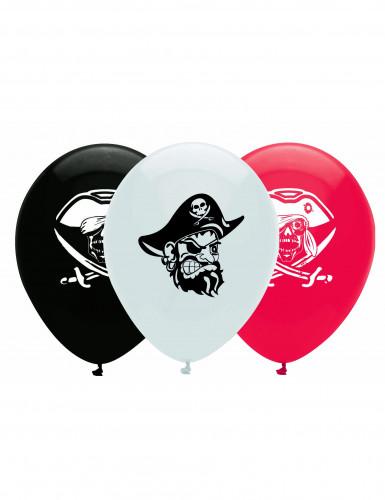 6 palloncini colorati con disegno di pirati