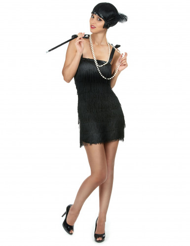 Costume charleston nero a frange per donna