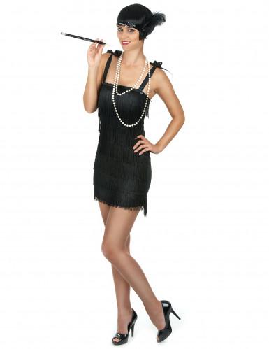 Costume charleston nero a frange per donna-1