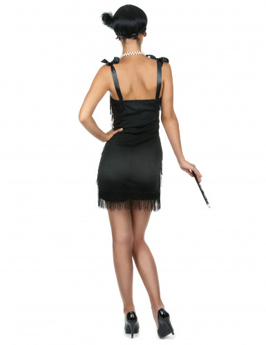 Costume charleston nero a frange per donna-2