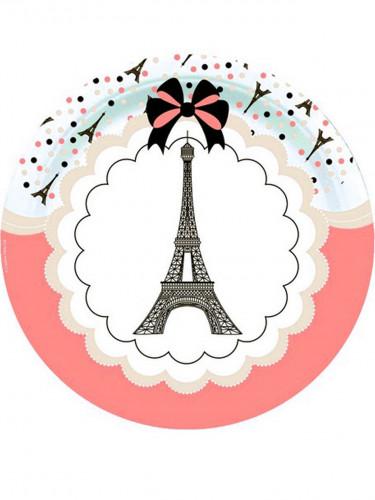 8 piatti di cartone Tour Eiffel di Parigi da 23 cm
