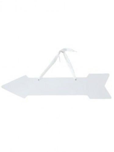 5 frecce segnaletiche bianche con fiocco 42x10 cm