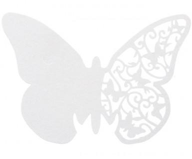 10 farfalle bianche di pizzo segna-posto