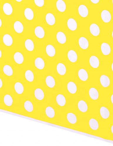 Tovaglia gialla a pois bianchi di 1,37 m x 2,74 m-1
