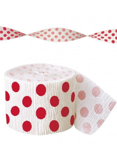 Rotolo carta crespa bianca a pallini rossi