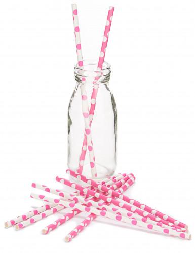 10 Cannucce di cartone bianche e rosa a pois 21 cm-1