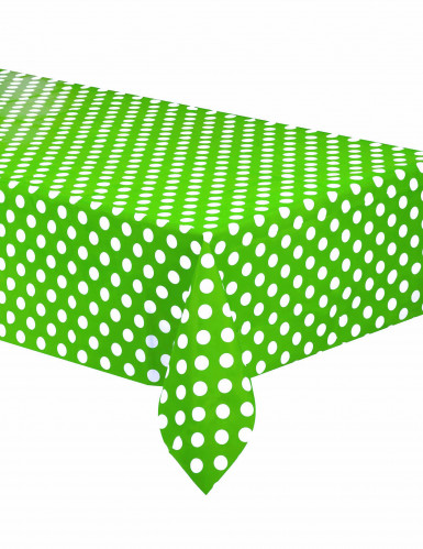 Tovaglia di plastica verde a pois bianchi