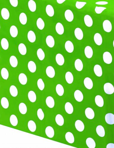 Tovaglia di plastica verde a pois bianchi-1