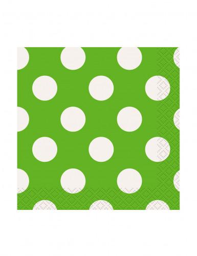 16 piccoli tovaglioli di carta verde con pois bianchi 25.5 x 25.5 cm