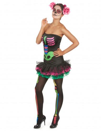 Costume colorato per donna da scheletro-2