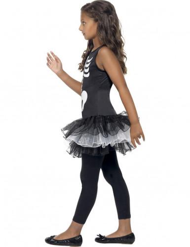 Costume nero da scheletro per bambina con tutù-1