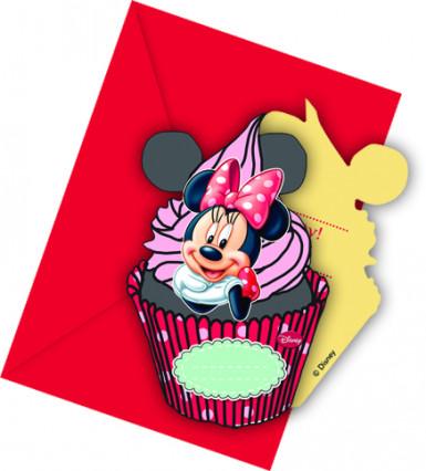 6 inviti cupcake Minnie con buste