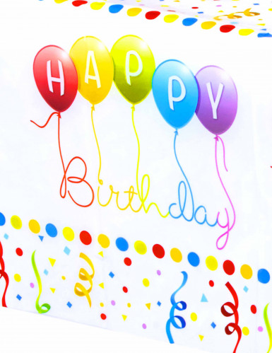 Tovaglia di plastica Happy Birthday da 120 x 180 cm-1