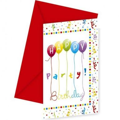 6 Biglietti di invito con buste Happy Birthday