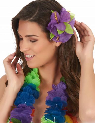Fermaglio a fiori Hawai viola-1