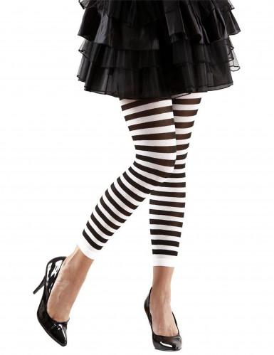 Legging bianco nero a righe adulto