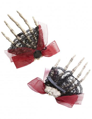 Fermaglio per capelli composto da una mano di scheletro per Halloween-1