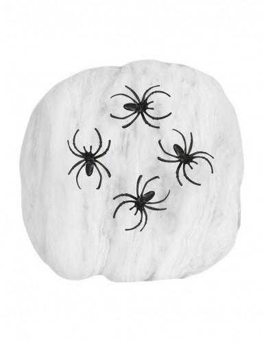 Ragnatela finta di colore bianco con ragni-1