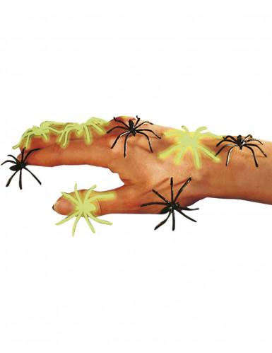 6 Ragni neri e fosforescenti Halloween